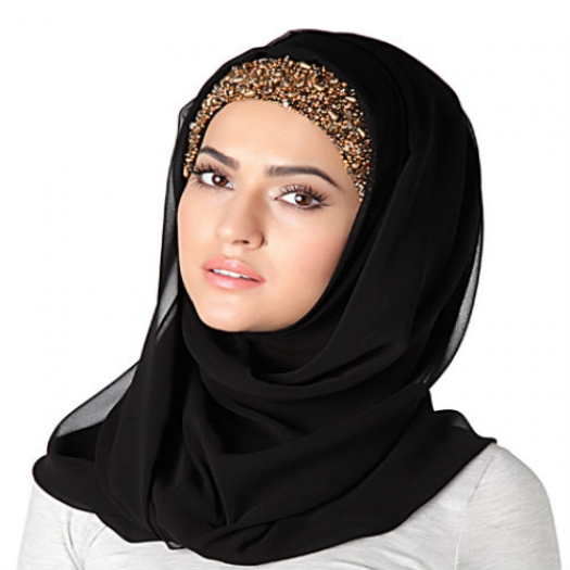 EMBROIDERED HIJAB BAND - ANTIQUE GOLD